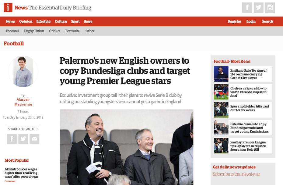 """Stampa inglese: """"I nuovi proprietari inglesi del Palermo copiano i club di Bundesliga e puntano a giovani stelle della Premier League"""""""
