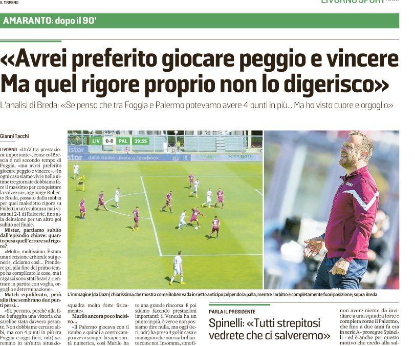 """Stampa Livorno: """"Noi derubati, rigore assurdo"""". Ma con quale coraggio?"""