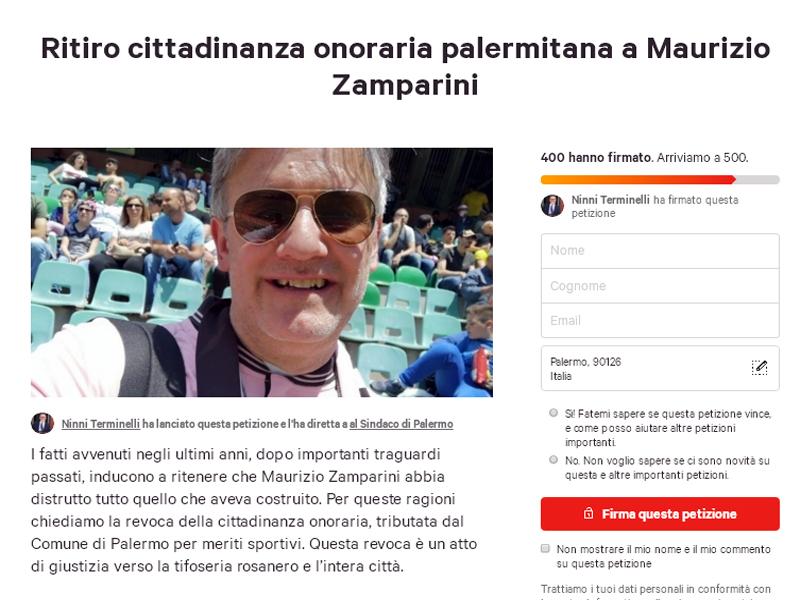 Ritirare la cittadinanza onoraria a Zamparini. Come firmare la petizione